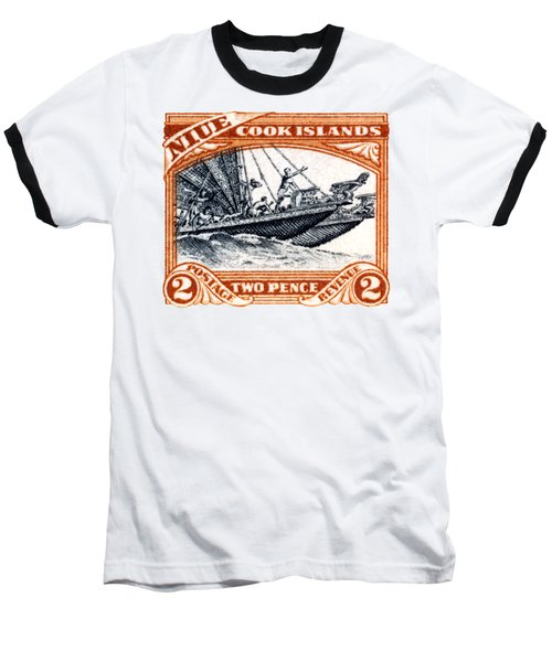 Baseball T-Shirt featuring the painting 1932 Niue Island Stamp by Historic Image
