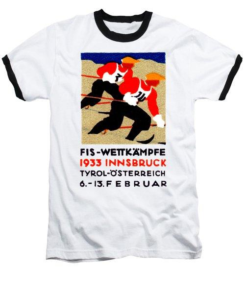 1933 Austrian Ski Race Poster Baseball T-Shirt