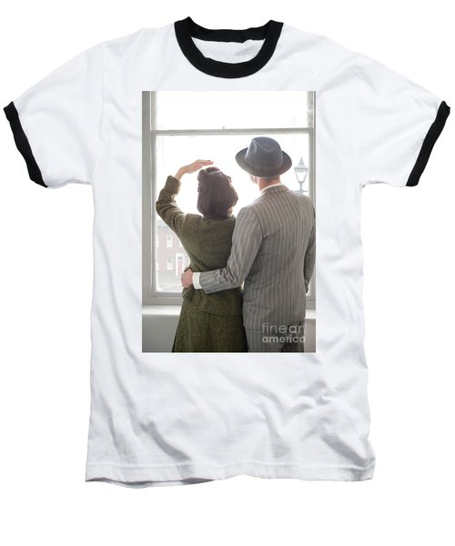 1940s Couple At The Window Baseball T-Shirt by Lee Avison