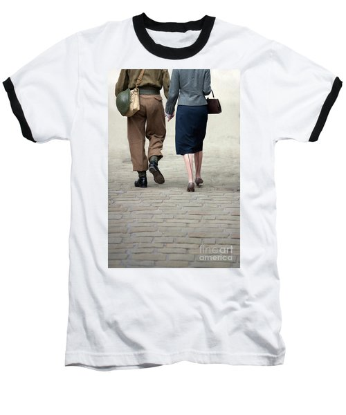 1940s Couple Soldier And Civilian Holding Hands Baseball T-Shirt by Lee Avison