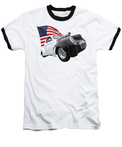 Baseball T-Shirt featuring the photograph 1941 Willys Coupe With Us Flag by Gill Billington