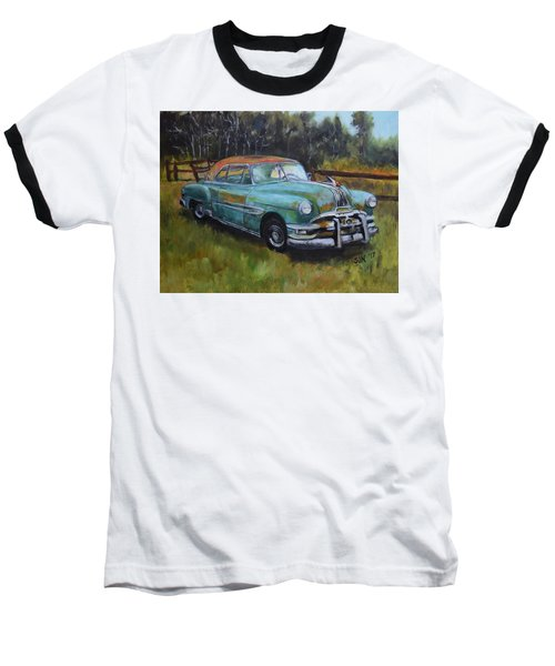 Baseball T-Shirt featuring the painting 1952 Pontiac Chieftain  by Sandra Nardone
