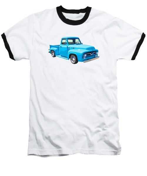 1955 Ford F100 Blue Pickup Truck Canvas Baseball T-Shirt