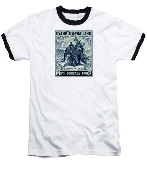 1955 Thailand War Elephant Stamp Baseball T-Shirt by Historic Image