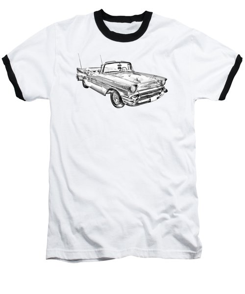 1957 Chevrolet Bel Air Convertible Illustration Baseball T-Shirt