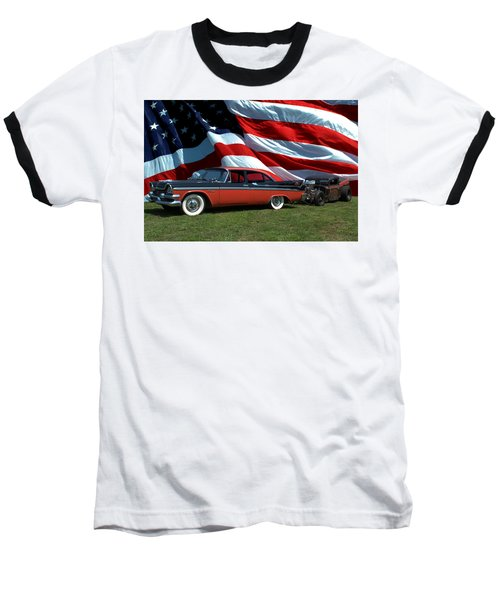 1958 Dodge Coronet And 1935 International Dragster Baseball T-Shirt by Tim McCullough