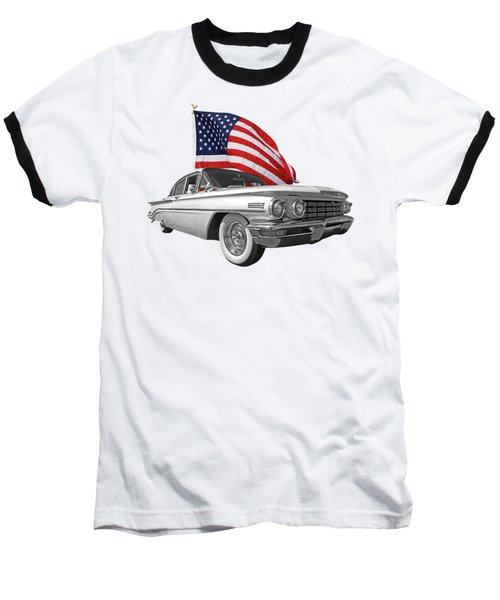 Baseball T-Shirt featuring the photograph 1960 Oldsmobile With Us Flag by Gill Billington