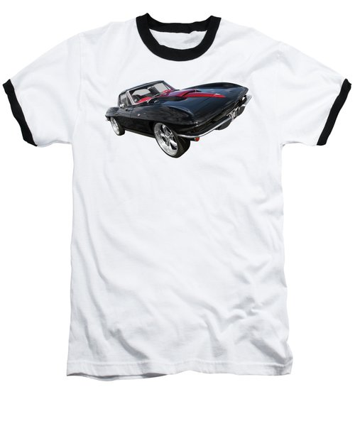 1963 Corvette Stingray Split Window In Black And Red Baseball T-Shirt