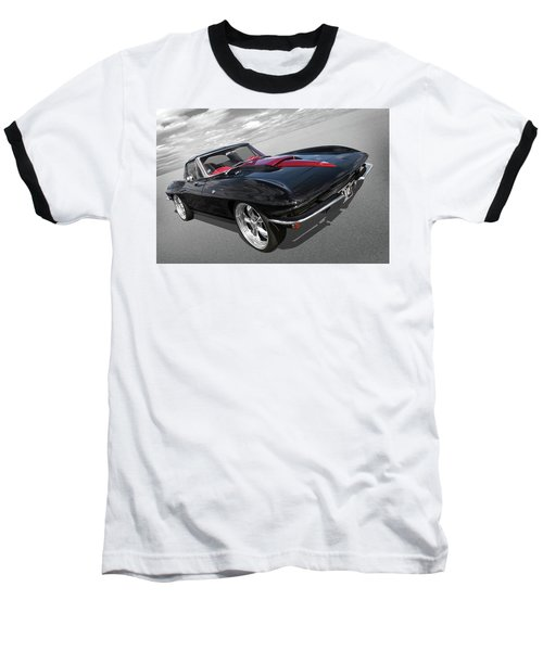 Baseball T-Shirt featuring the photograph 1963 Corvette Stingray Split Window In Black And Red by Gill Billington