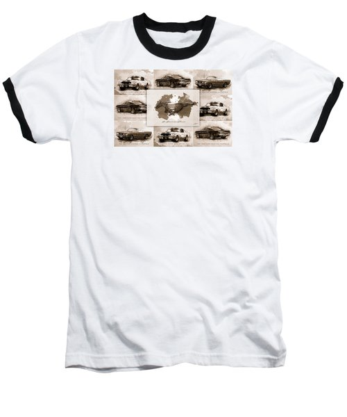 1965 Ford Mustang Collage I Baseball T-Shirt by Gary Bodnar