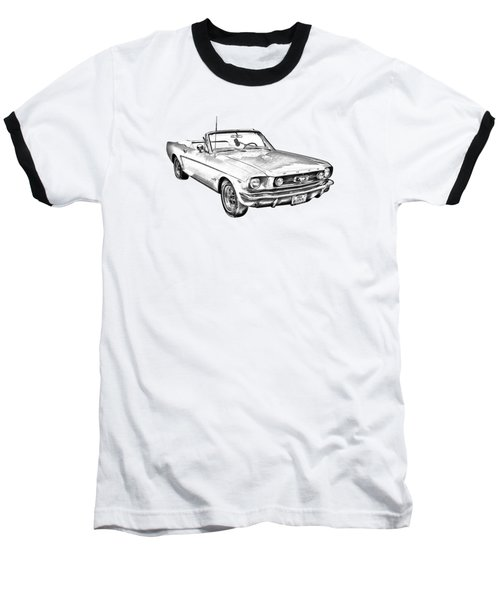 1965 Red Ford Mustang Convertible Drawing Baseball T-Shirt