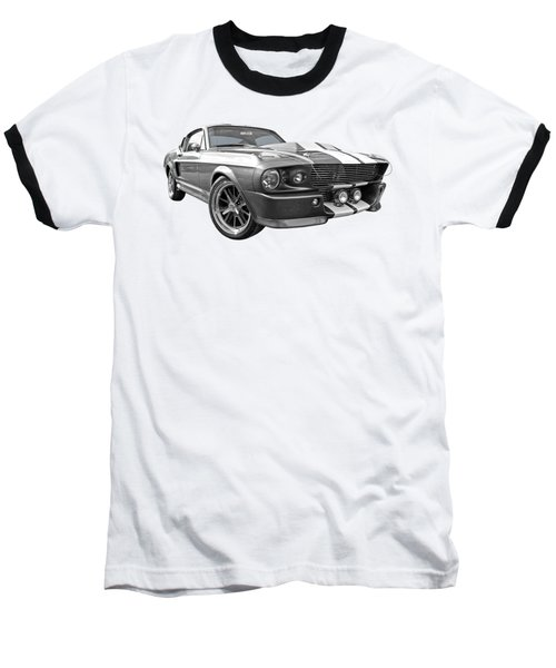1967 Eleanor Mustang In Black And White Baseball T-Shirt by Gill Billington
