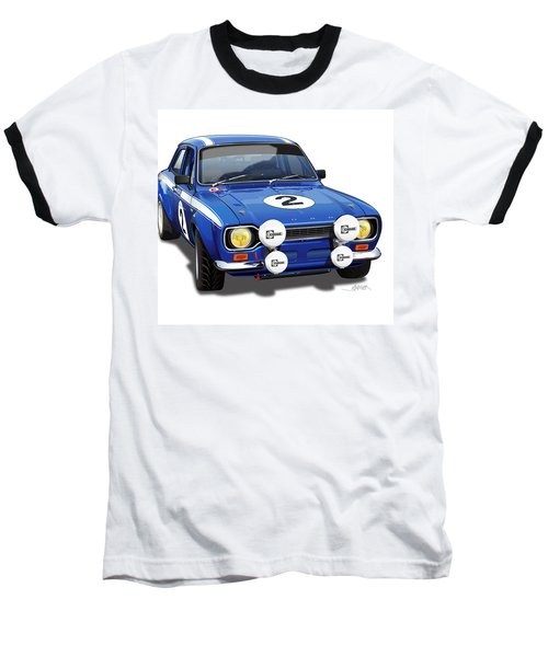 1970 Ford Escort Mexico Illustration Baseball T-Shirt