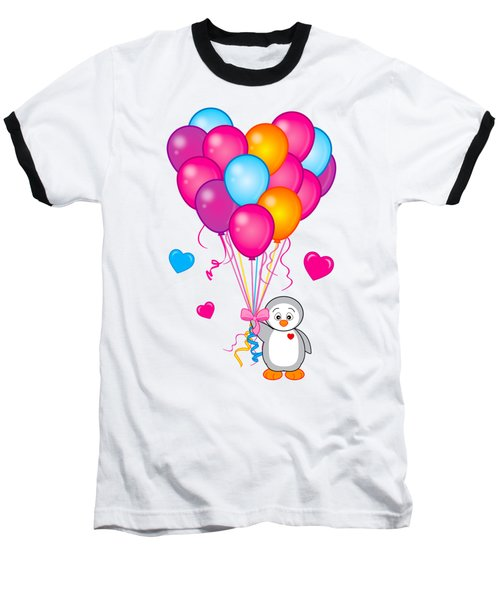 Baby Penguin With Heart Balloons Baseball T-Shirt by A