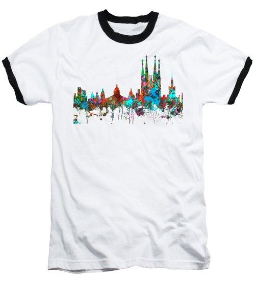 Barcelona Spain Skyline Baseball T-Shirt