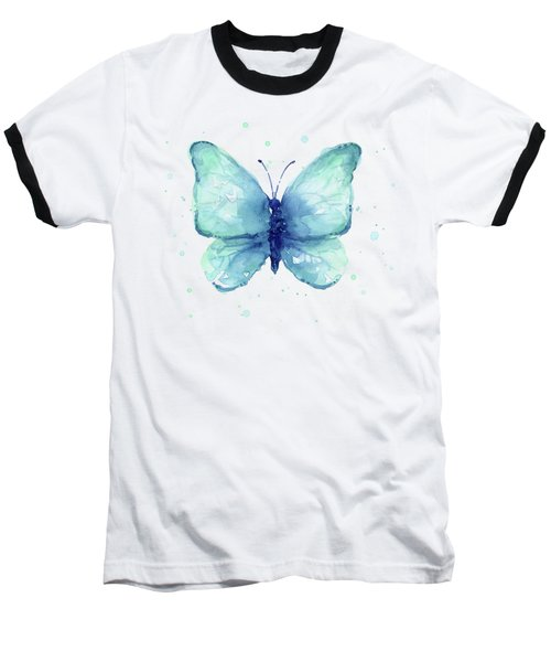 Blue Butterfly Watercolor Baseball T-Shirt