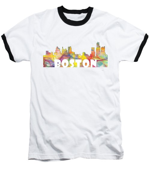 Boston Massachusetts Skyline Baseball T-Shirt
