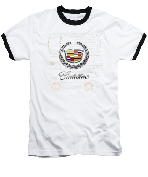 Cadillac 3 D Badge Over Cadillac Escalade Blueprint  Baseball T-Shirt