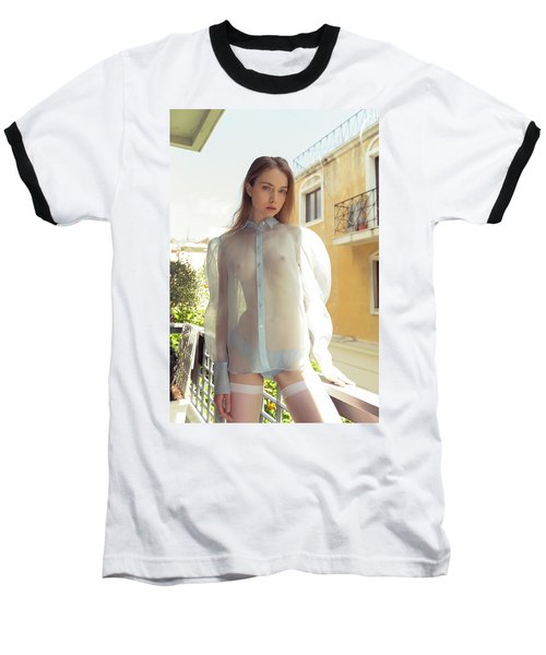 Girl On Balcony Baseball T-Shirt