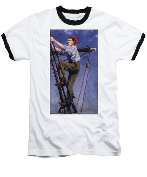Baseball T-Shirt featuring the painting Going Aloft by Henry Scott Tuke