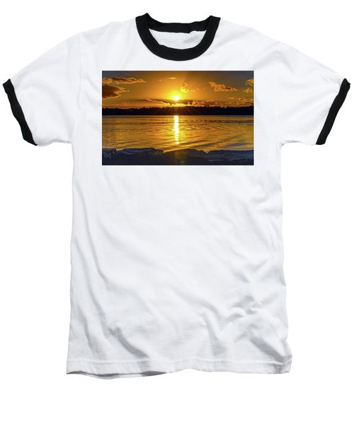 Golden Sunrise Waterscape Baseball T-Shirt