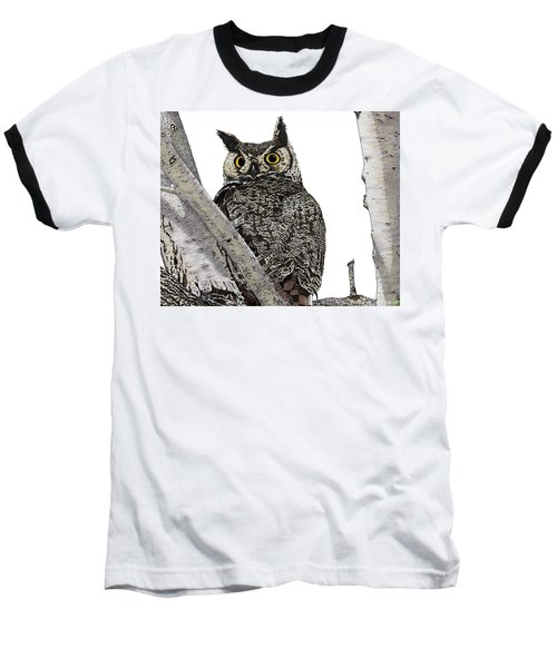 Great Horned Owl Baseball T-Shirt