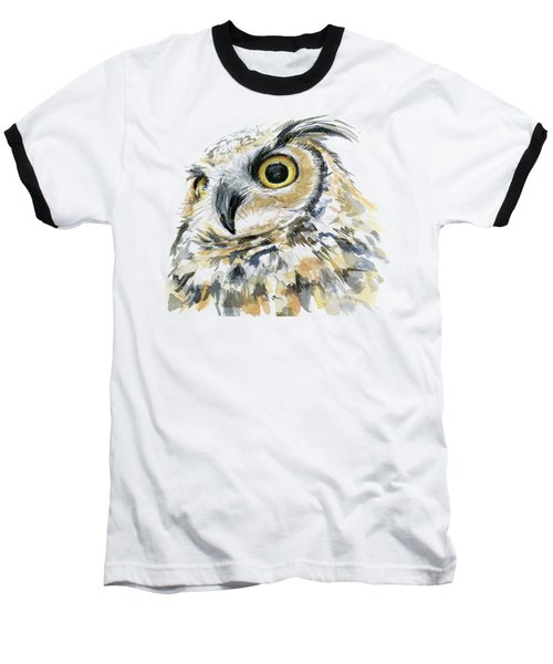 Great Horned Owl Watercolor Baseball T-Shirt