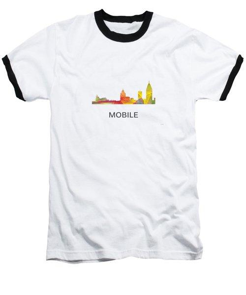 Mobile Alabama Skyline Baseball T-Shirt by Marlene Watson