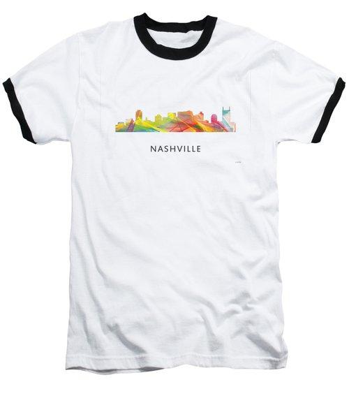 Nashville Tennessee Skyline Baseball T-Shirt by Marlene Watson