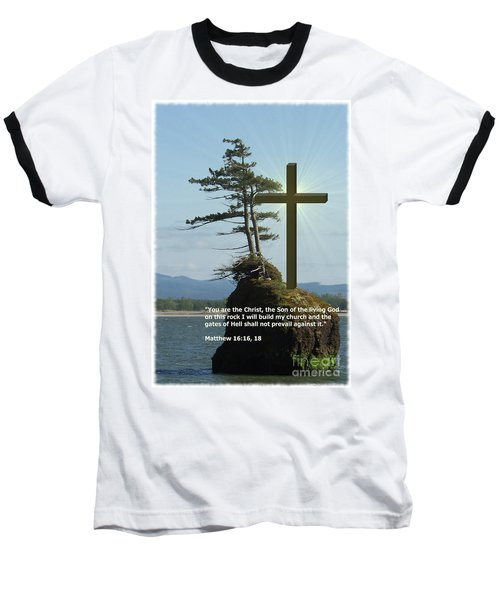 On This Rock I Will Build My Church Baseball T-Shirt