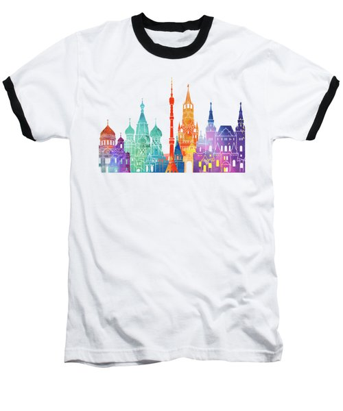 Paris Landmarks Watercolor Poster Baseball T-Shirt