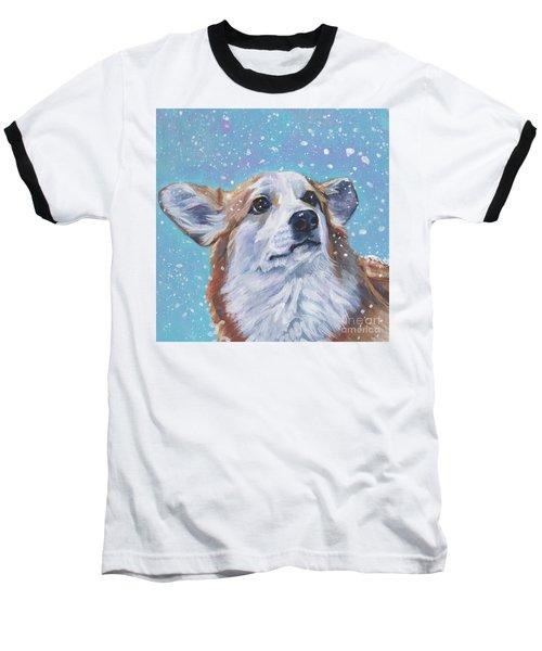Baseball T-Shirt featuring the painting Pembroke Welsh Corgi by Lee Ann Shepard