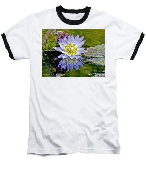 Purple Water Lily Pond Baseball T-Shirt by Carol F Austin