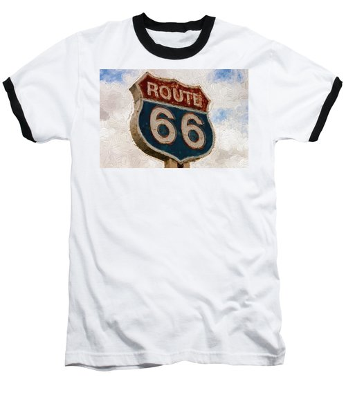 Route 66  Baseball T-Shirt by Louis Ferreira