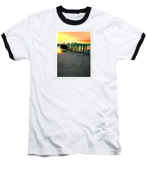 Sea Gulls On Pilings  At Sunset Baseball T-Shirt
