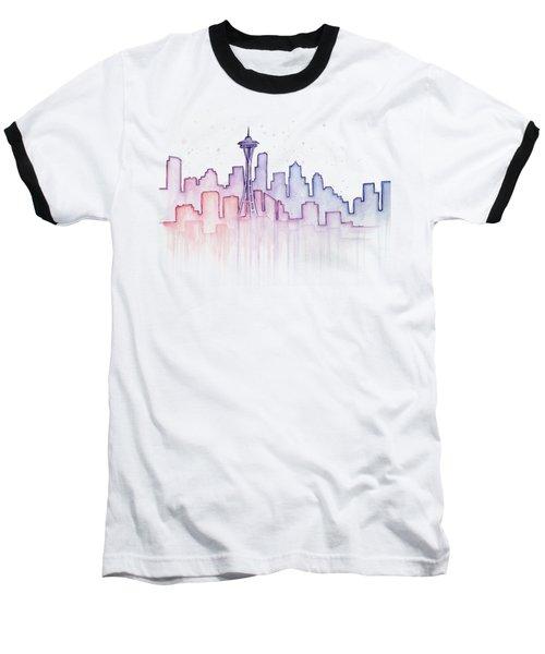 Seattle Skyline Watercolor Baseball T-Shirt by Olga Shvartsur