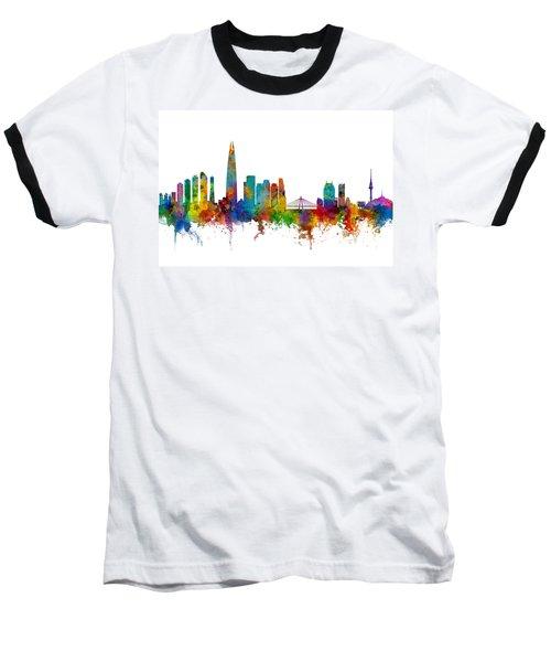 Baseball T-Shirt featuring the photograph Seoul Skyline South Korea by Michael Tompsett