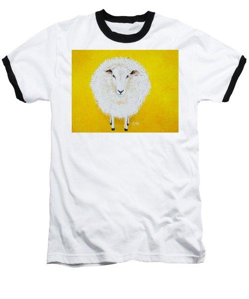 Sheep Painting On Yellow Background Baseball T-Shirt
