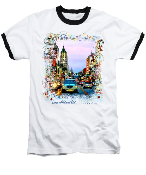 Sunset On Hollywood Blvd Baseball T-Shirt by Jennie Breeze