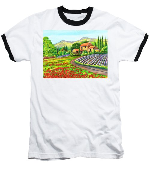 Baseball T-Shirt featuring the painting Tuscany Lavender by Val Stokes
