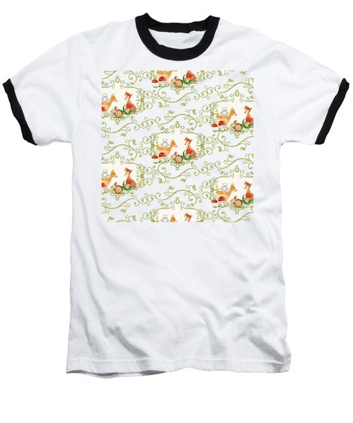 Woodland Fairytale - Animals Deer Owl Fox Bunny N Mushrooms Baseball T-Shirt