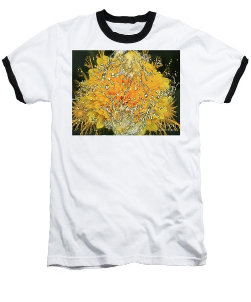 Yellow Dahlia Baseball T-Shirt by Elvira Ladocki