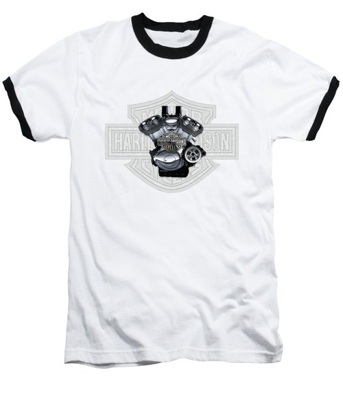 Baseball T-Shirt featuring the digital art 2002 Harley-davidson Revolution Engine With 3d Badge  by Serge Averbukh