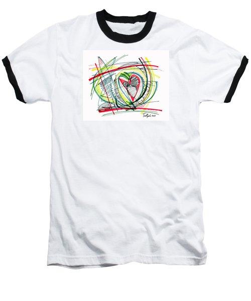 2010 Abstract Drawing Eighteen Baseball T-Shirt by Lynne Taetzsch