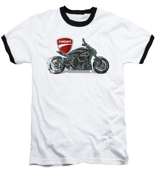 Baseball T-Shirt featuring the digital art 2017 Ducati Xdiavel-s Motorcycle With 3d Badge Over Vintage Blueprint  by Serge Averbukh