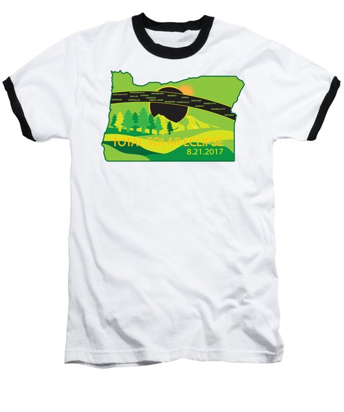 2017 Total Solar Eclipse Across Oregon Cities Map Illustration Baseball T-Shirt