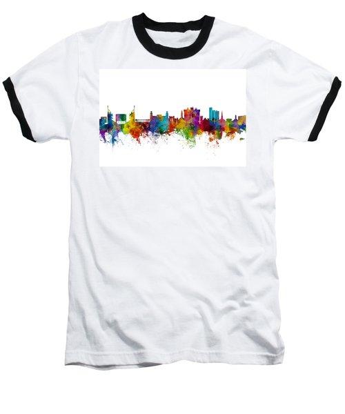 Baseball T-Shirt featuring the digital art Fayetteville Arkansas Skyline by Michael Tompsett