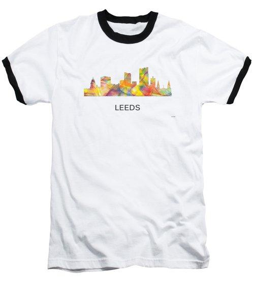 Leeds England Skyline Baseball T-Shirt by Marlene Watson