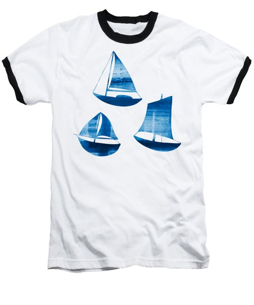 3 Little Blue Sailing Boats Baseball T-Shirt by Frank Tschakert