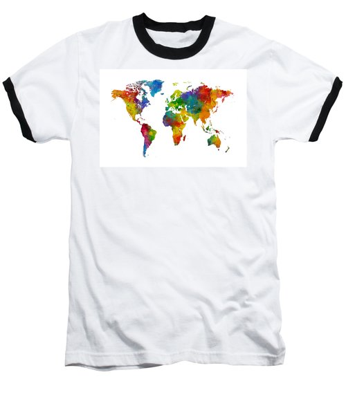Map Of The World Map Watercolor Baseball T-Shirt